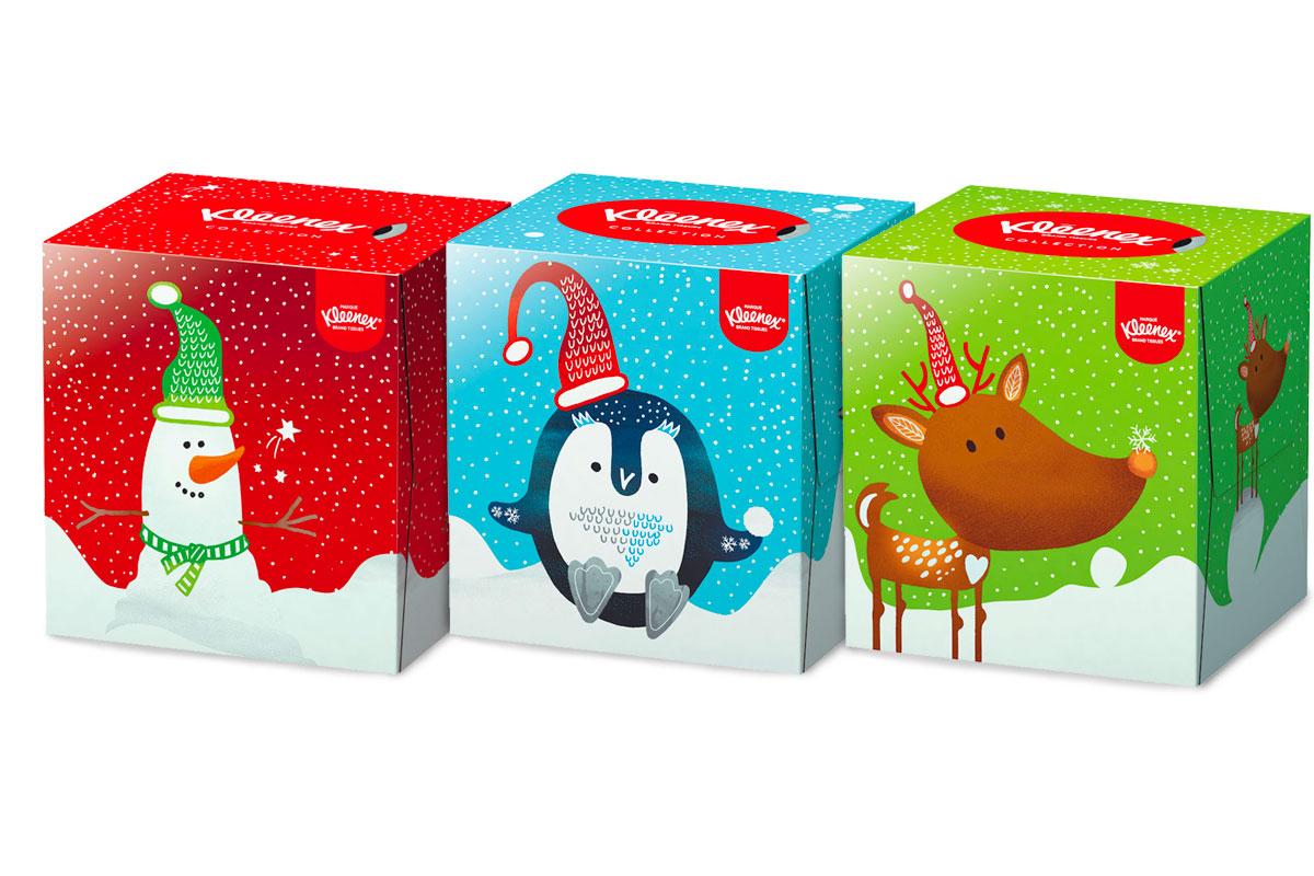 Kleenex packaging Natale